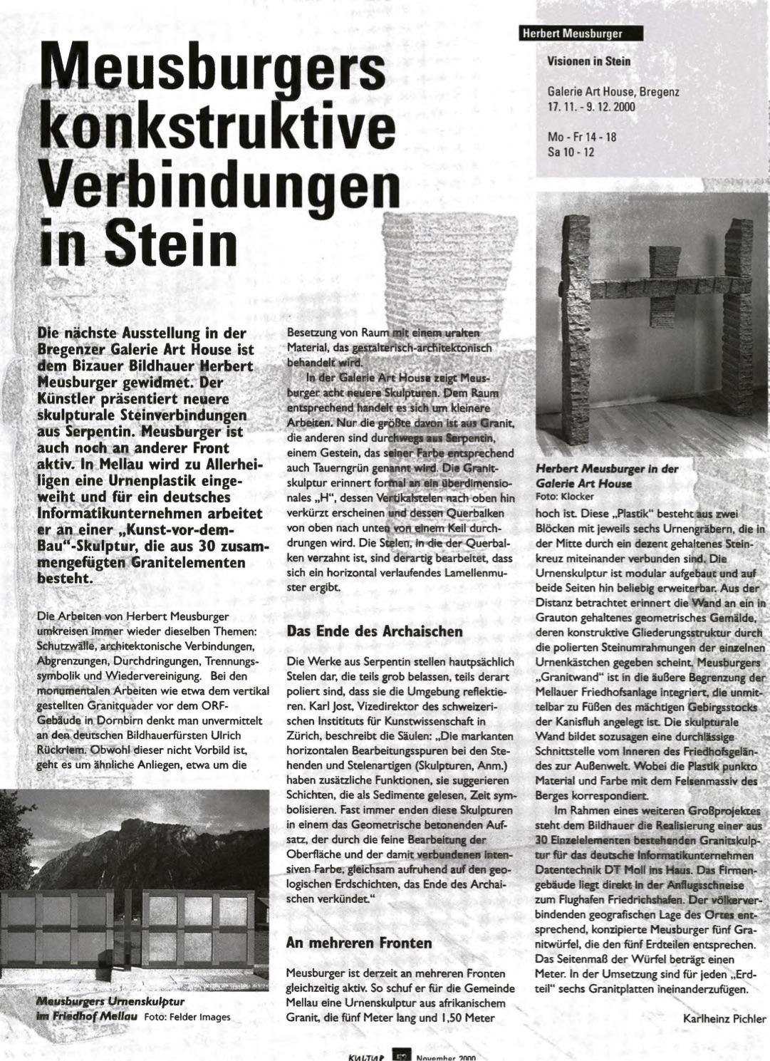 Rezension in der Zeitschrift KULTUR 2000/09
