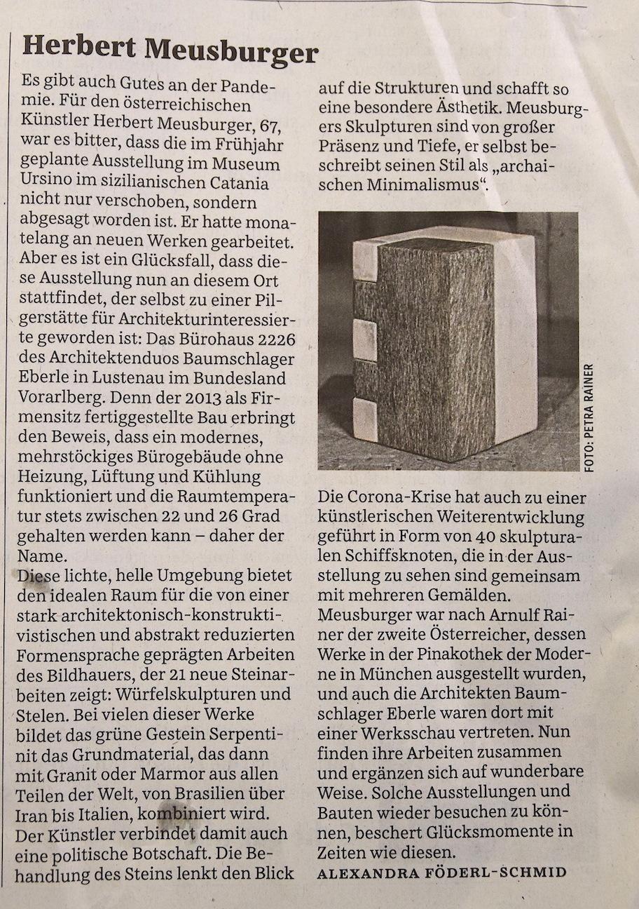 Die Süddeutsche Zeitung über Herbert Meusburger am 10.10.2020